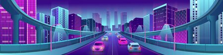 Neon city with bright houses, road and cars. Vector illustration.