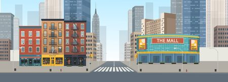 Panorama city building houses with shops: boutique, cafe, bookstore, mall .Vector illustration in flat style. Archivio Fotografico