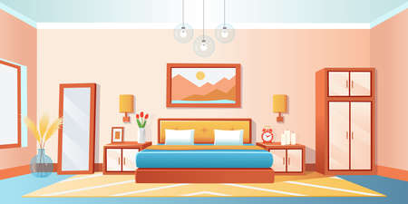 Cozy interior bedroom with bed, wardrobe, bedside tables, mirrored, alaarm clock, vase, chandeliers. Vector cartoon illustration. 矢量图像