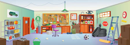 Garage or basement interior with tools, table, shelves, stepladder, boxes, tires. Vector cartoon game and mobile applications background. 矢量图像