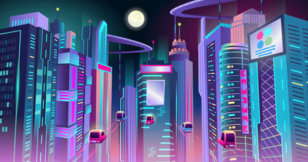 Neon cyberpunk city of the future with the traffic of flying cars at night. Vector illustration.