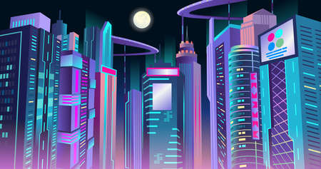 Neon cyberpunk city of the future at night. Vector illustration.