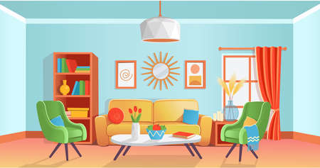 Retro cozy colored living room interior with sofa, armchairs, table, shelf, window, vase, chandelier, paintings, mirror. Vector illustration flat cartoon style.