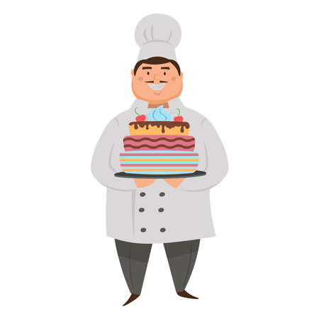 Flat cartoon character chef with a cake. Vector illustration.