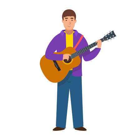 Cartoon musician with a guitar, character for children. Flat vector illustration
