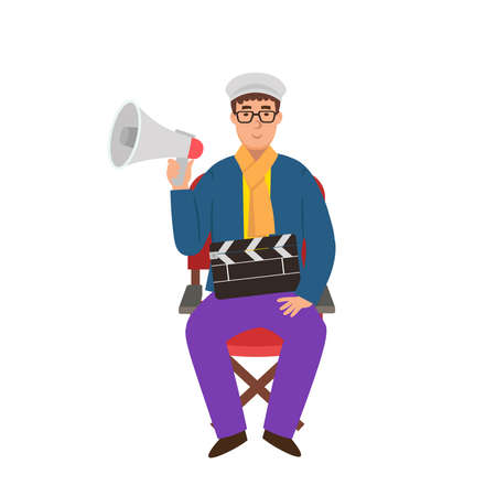 Cartoon director is sitiing on a chair with a megaphone and movie clapper, character for children. Flat vector illustration. 矢量图像