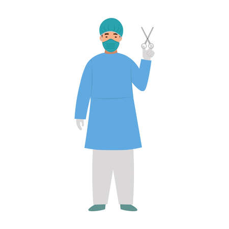 Cartoon masked surgeon with scissors, character for children. Flat vector illustration