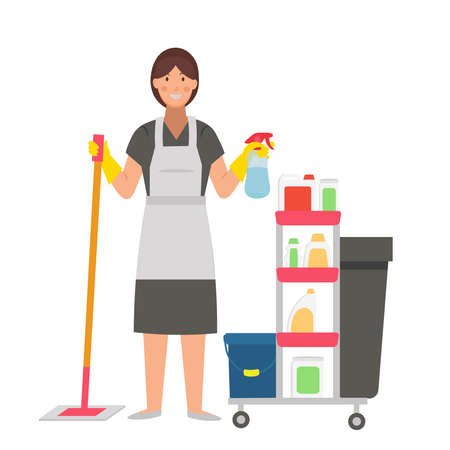 Cartoon maid with spray, mop and detergents, character for children. Flat vector illustration