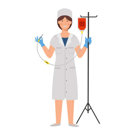 Cartoon nurse with a dropper, character for children. Flat vector illustration 矢量图像