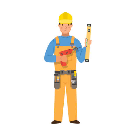Cartoon carpenter with a drill and a ruler, character for children. Flat vector illustration 矢量图像