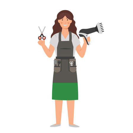Cartoon hairdresser with hair dryer and scissors, character for children. Flat vector illustration