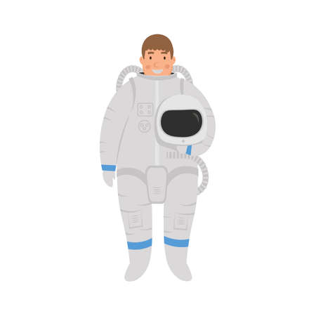 Cartoon flat character astronaut. Vector illustration.