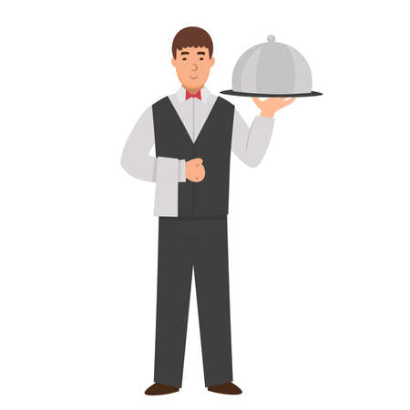 Cartoon waiter with covered tray, character for children. Flat vector illustration. 矢量图像