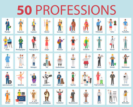 50 professions. Big set of professions in cartoon flat style for children. International Workers' Day, Labor Day 矢量图像