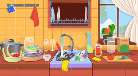 Kitchen sink with dirty dishes. Dirty kitchen. A concept for cleaning companies.Flat cartoon vector illustration.