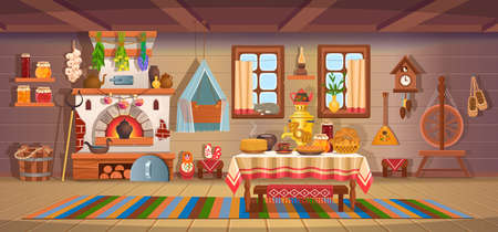The interior of an old Russian hut with old baby cradle, russian stove, spindle, samovar, dry herbs, balalaika, matryoshka, bast shoes, jam, wooden bucket, windows, door.Old kitchen interior.
