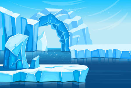 Arctic landscape with icebergs and sea or ocean. Vector cartoon illustration for games and mobile applications.