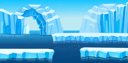 Arctic landscape with icebergs and sea or ocean. Panorama of antarctica. Vector cartoon illustration for games and mobile applications.