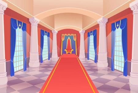 Vector castle hall with a king throne and windows. Ð¡artoon illustration.
