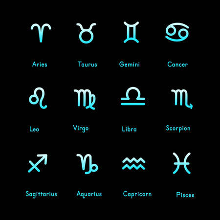 Set of zodiac signs icons. Aries, taurus, gemini, cancer, leo, virgo, libra, scorpio, sagittarius, aquarius, capricorn, pisces. Vector illustration in cartoon line style.