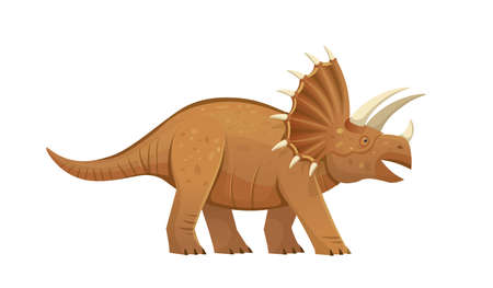Triceratops was dangerous dinosaur. Triceratops bearing a large bony frill and three horns on the skull. Vector cartoon dinosaur.