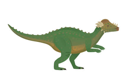 Pachycephalosaurus green dinosaur.Vector cartoon dinosaur.