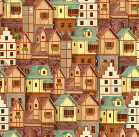 Seamless pattern of medieval town. Old city street with chalet style houses. Vector illustration in cartoon style. 矢量图像