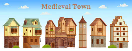 Set of medieval town. Old city street with chalet style houses. Vector illustration in cartoon style.