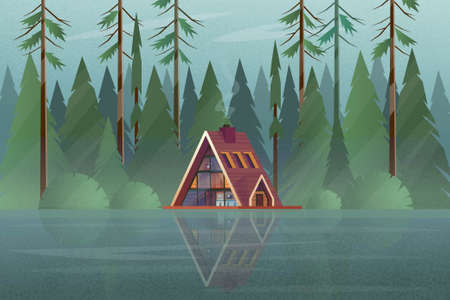 Modern house with trees in the forest near the lake in flat style Vettoriali