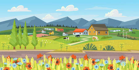 Farm panorama with fields, flowers, grass and cows. Summer green landscape with hills, meadows, blue sky with white clouds.Vector banner for eco products.