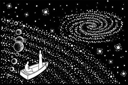 Two souls in a boat move through the universe to another galaxy. Vector illustration.