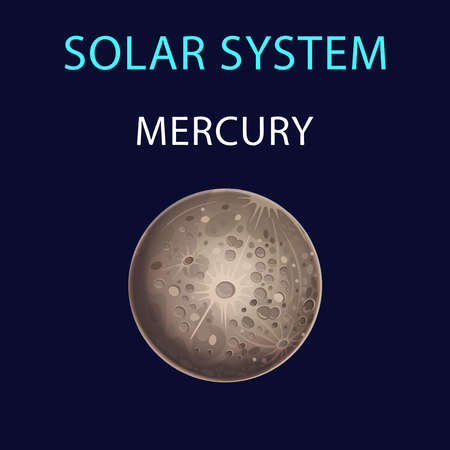 Vector cartoon illustration of Mercury.