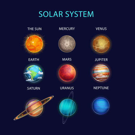 Vector illustration of Solar System with planets: The Sun, Mercury, Venus, Earth, Mars, Jupiter, Saturn, Uranus, Neptune. 矢量图像
