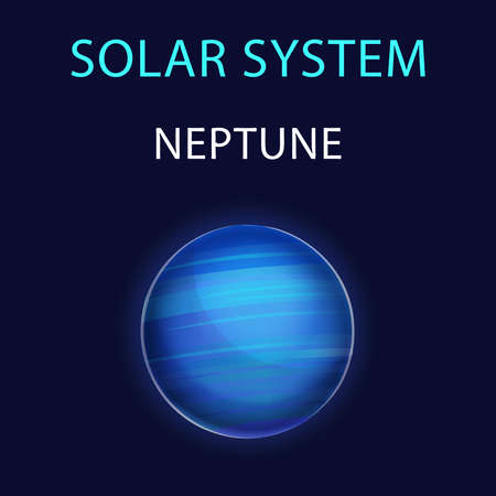 Vector cartoon illustration of Neptune.