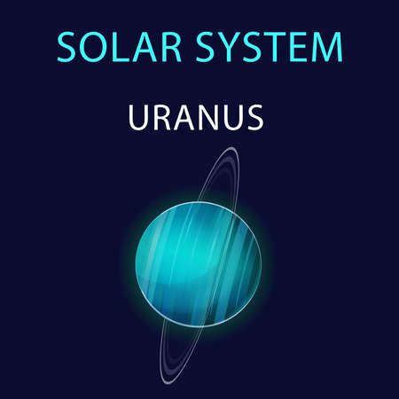 Vector cartoon illustration of Uranus. 矢量图像