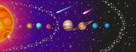 Vector illustration of Solar System with planets, asteroid belt and comets: The Sun, Mercury, Venus, Earth, Mars, Jupiter, Saturn, Uranus, Neptune.