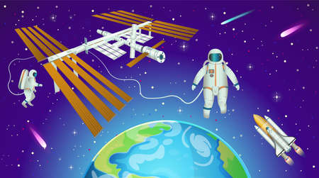 Space background with international space station, planet earth, astronauts and space shuttle in cartoon style. 矢量图像