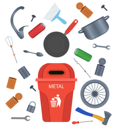 Metal garbage. Crockery, aluminum cans, tools Cartoon vector illustration.