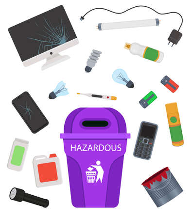 Household hazardous garbage. E-waste, toxic trash Cartoon vector illustration. 矢量图像