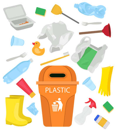 Plastic garbage. Bottles, bags, gloves, duck, rubber boots, disposable dishes Cartoon vector illustration.