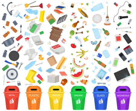 Big Set Garbage Sorting. metal, plastic, paper, organic garbage, glass, hazardous waste Vector Illustration.