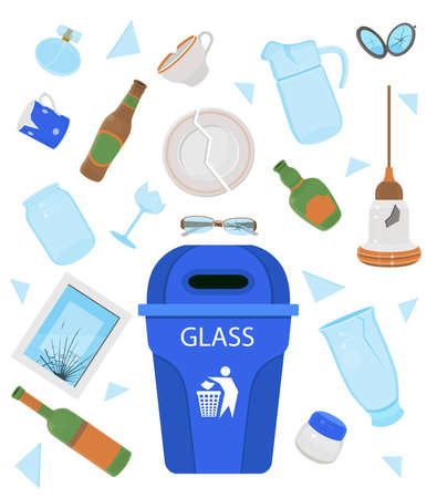 Glass garbage. Broken plate, cup, jar, bottle, mirror, glasses, vase, perfume, lamp. Cartoon vector illustration.