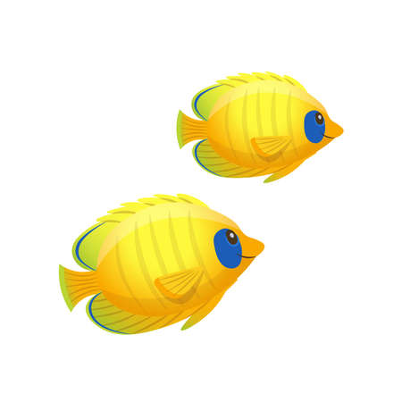Cartoon yellow butterfly fish on a white background. Vector illustration