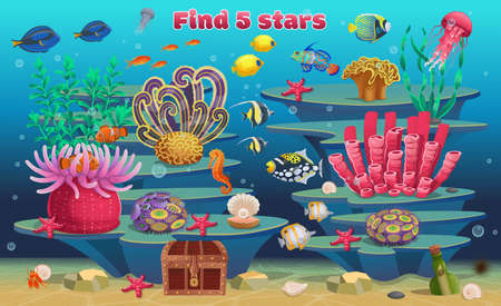 A mini game for children. Find 5 stars. Background of coral reef with algae tropical fish and marine animals. Vector illustration in cartoon style.