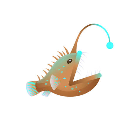 Cartoon an angler fish with open mouth on a white background. Vector illustration