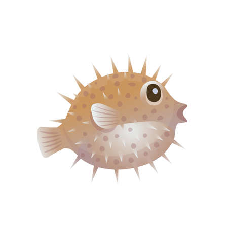Cartoon hedgehog fish on a white background. Vector illustration 矢量图像