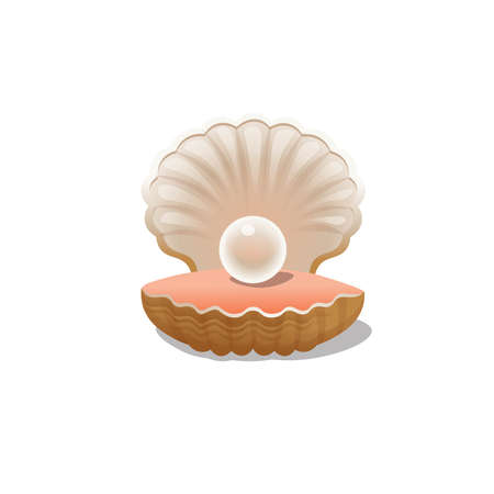 Cartoon a pearl shell on a white background. Vector illustration. 矢量图像