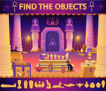 Find the object in the egypt pharaoh tomb: sarcophagus, chests, statues of the pharaoh with the ankh, a cat figurine, dog, Nefertiti, columns and a lamp. Vector cartoon illustration for games. 矢量图像