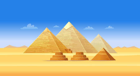 Egyptian pyramid complex in Giza. Famous African landmark, touristic center of Cairo. Illustration in cartoon style.