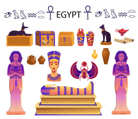 Egypt set in cartoon style with a sarcophagus, chests, statues of the pharaoh with the ankh, a cat figurine, dog, Nefertiti, columns, scarab and a lamp.